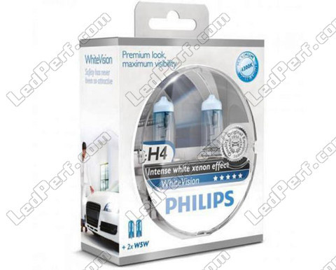 Set met 2 H4 lampen Philips WhiteVision + 2 W5W WhiteVision