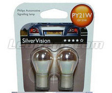 2 Philips SilverVision lampen voor knipperlicht Chroom - PY21W - Fitting BAU15S